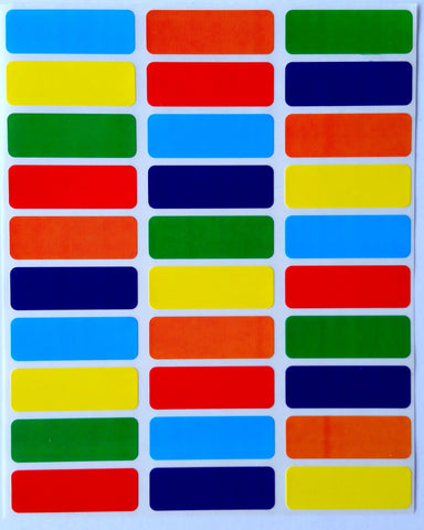 Rectangular Multicolor 1 3/8 x 1/2 inch Stickers
