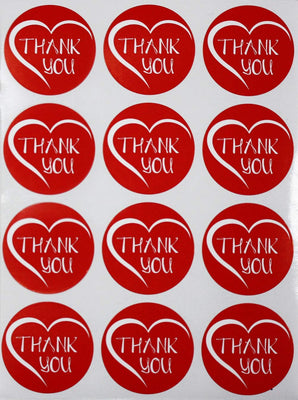 Round Heart Shape 1/2 Inch Thank You Stickers 38mm