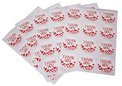 Thank You Heart Stickers Colored Labels 1.5 inch 38mm