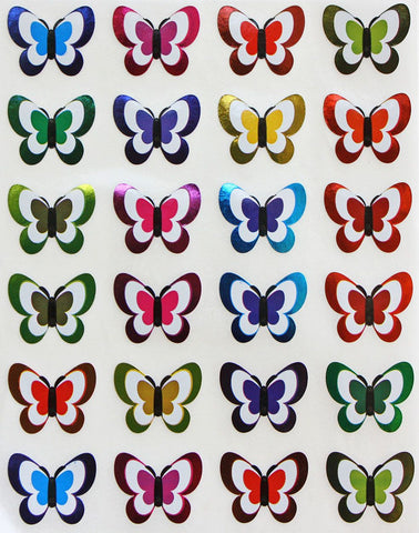 Butterfly Colored Stickers In Metallic Colors