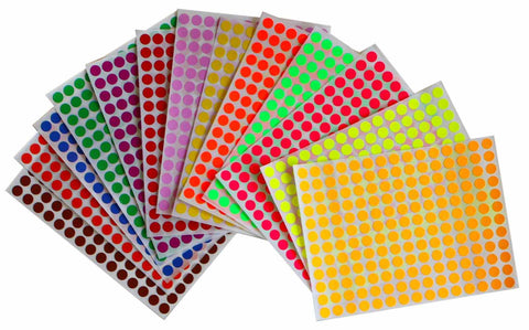 Dots stickers 8mm ¼ inch multi colors