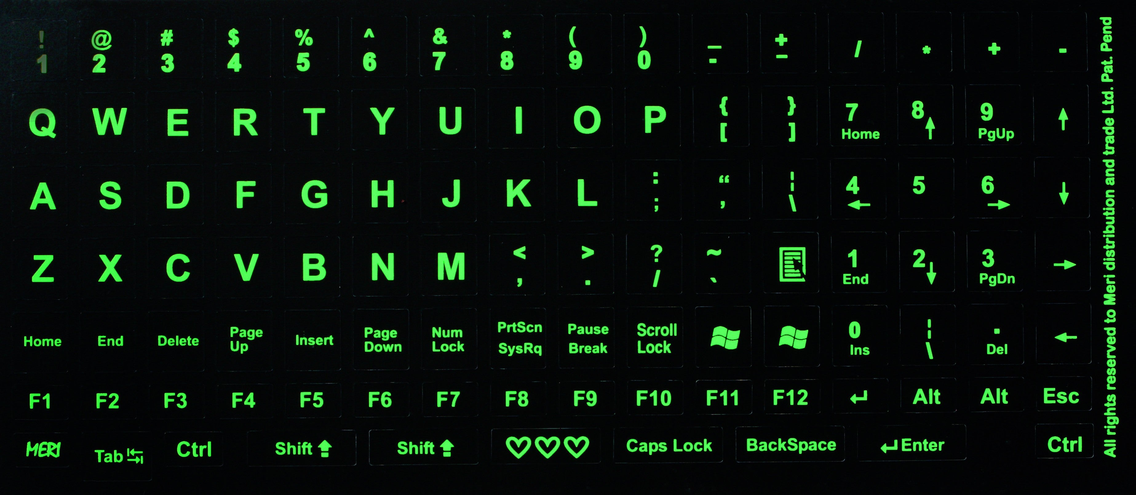 image relating to Printable Keyboard Stickers identified as Huge Neon Keyboard Substitute Stickers Royal Environmentally friendly Industry