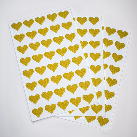"Gold Valentines Day glitter Heart stickers 3/4""x 3/4"""