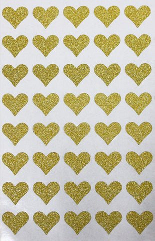 Valentines Day 3/4 Inch Glitter Heart Stickers 19mm
