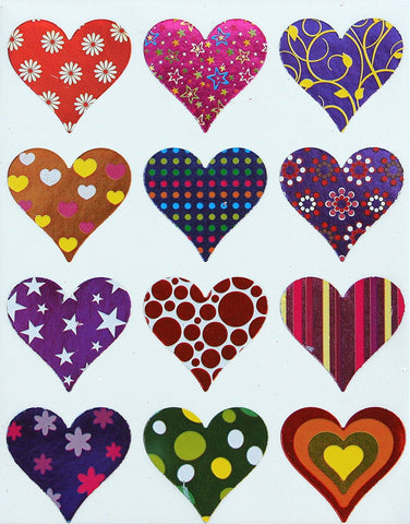 Valentines Day Metallic Heart 4 x 5 inch Stickers 17mm
