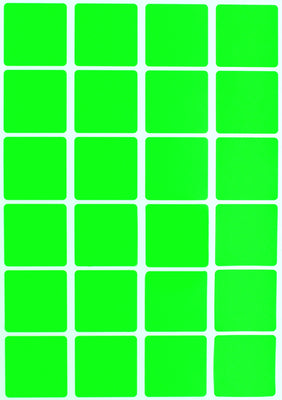 Square Stickers 1 x 1 inch Neon Colors 25mm x 25mm