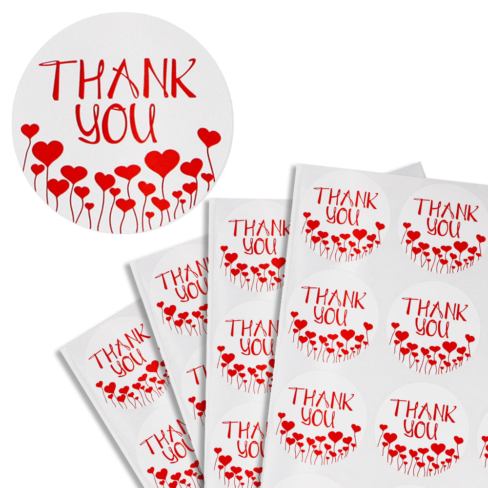 Round Heart Shape 1 2 Inch Thank You Stickers 38mm Royal Green Market