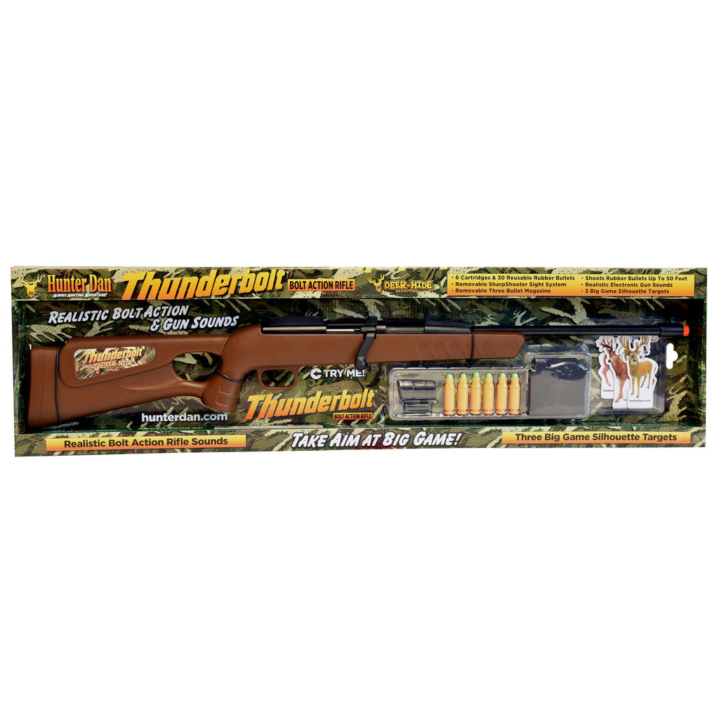 Item #038 NEW Deer-Hide THUNDERBOLT Bolt Action Toy Rifle Set