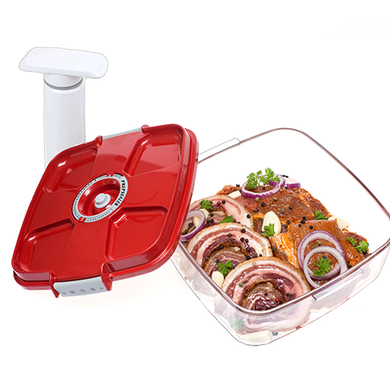 Food Saving Tritan Marinating Vacuum Container Red- 2pc Set (2L, Pump)