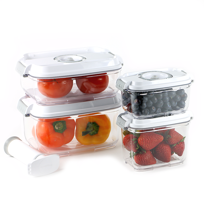 Food Saving Tritan Vacuum Container-5pc Set (0.5L,0.8L,1.2L,2L with Pump)