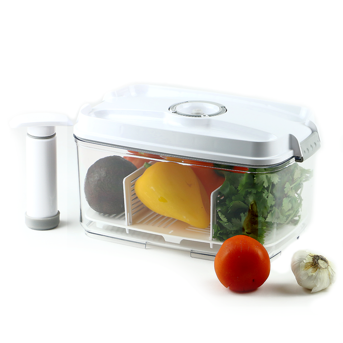 Food Saving Vacuum Container Large-2 pc Set(4.5L, Pump + Drip Tray)