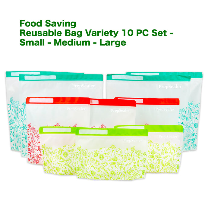 Food Saving Reusable Bag - Variety 10pc Set (3-sizes) -coming soon