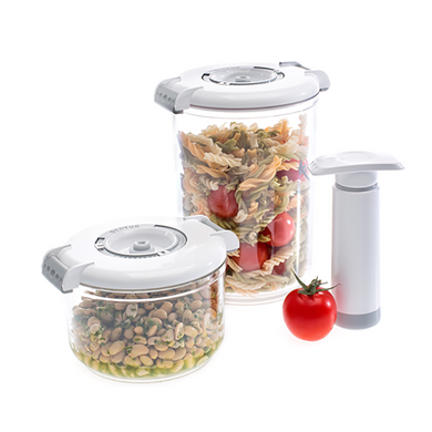 Food Saving Tritan Vacuum Container Round White-3pc Set(0.75L,1.5L,Pump with 2 Trays)