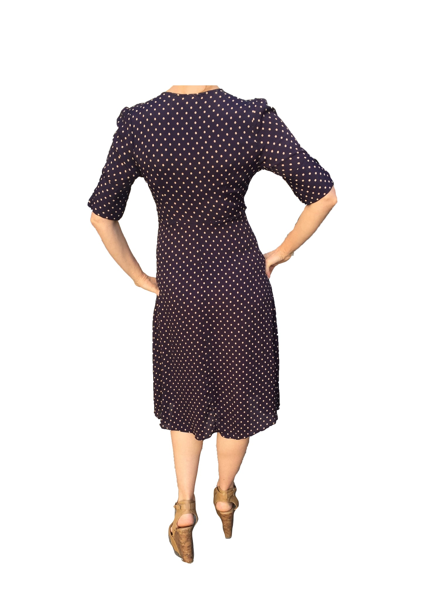 Kristina Dress short sleeve aubergine beige dot