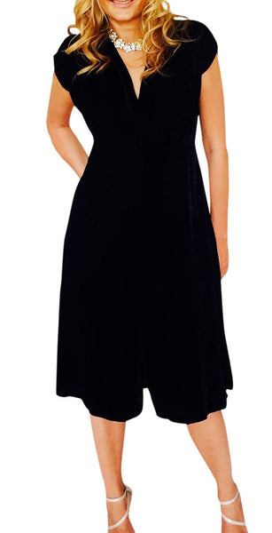 Silk Velvet Kristina Dress, Cap Sleeve