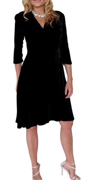 Lexie Dress 3/4 Sleeve Silk Velvet
