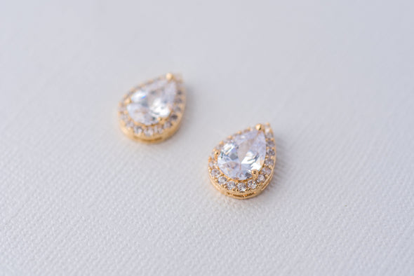 Teardrop Cubic Zirconia Earrings - Gold