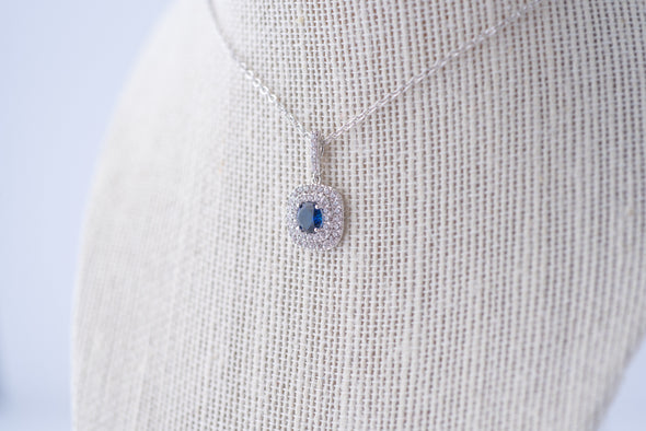 Celine Cubic Zirconia Necklace - Royal Blue & Silver