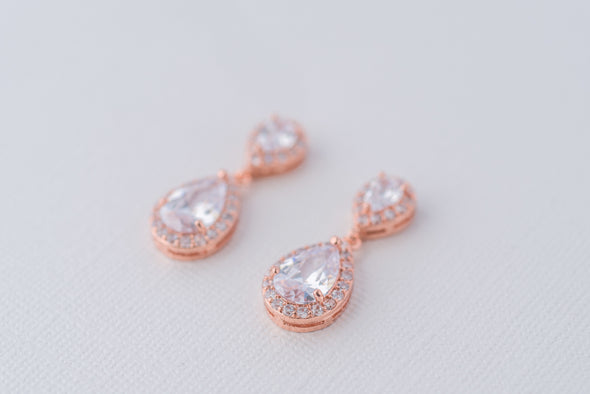 Sophia Teardrop Cubic Zirconia Earrings - Rose Gold