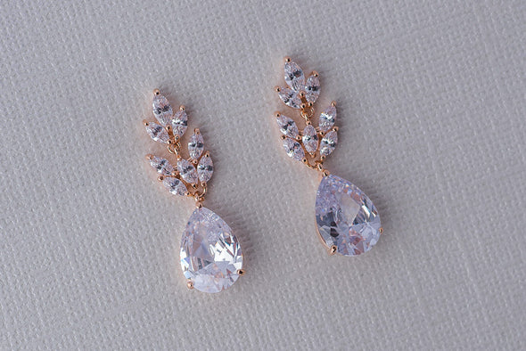 Rose Cubic Zirconia Earrings - Rose Gold & Silver