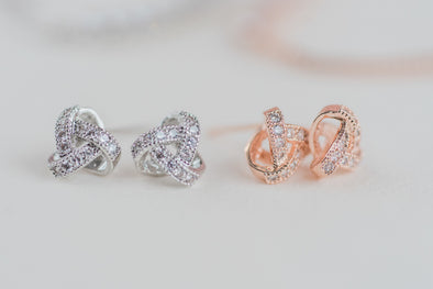 Pave Knot  - Silver & Rose Gold