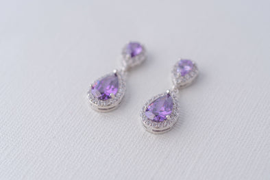 Sophia Teardrop Cubic Zirconia Earrings - Silver & Amethyst