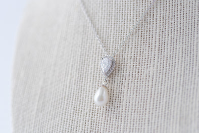 Teardrop Cubic Zirconia and Pearl Necklace
