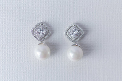 Pearl and Pave Cubic Zirconia Earrings