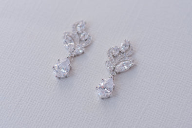 Aya Cubic Zirconia Earrings - Silver