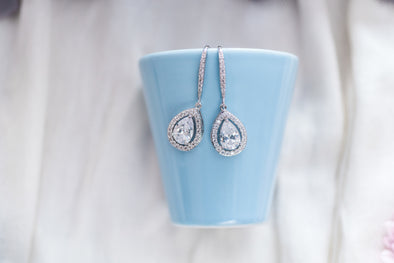 Ava Cubic Zirconia Tear Drop Earrings