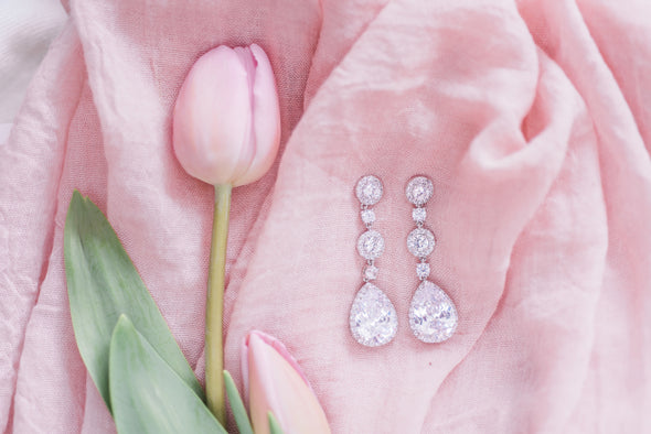 Lilac Cubic Zirconia Drop Earrings - Rose Gold & Silver