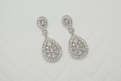 Rania Cubic Zirconia Earrings - Silver & Rose Gold