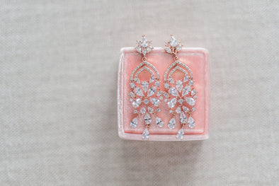 Amelia Cubic Zirconia Earrings - Rose Gold or Silver