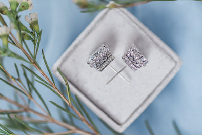 Square Cut Rose Gold or Silver Earrings