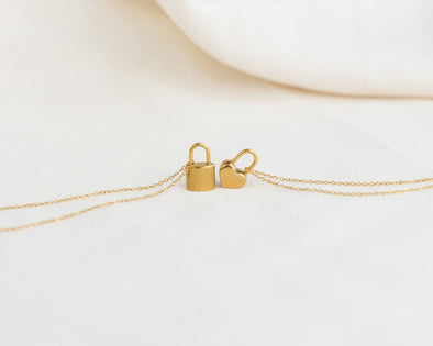 Heart + Lock Pendent Necklaces