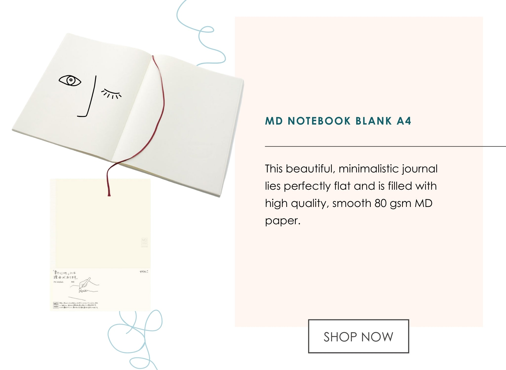 This beautiful, minimalistic journal lies perfectly flat and is filled with high quality, smooth 80 gsm MD paper.