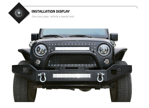 Full Width Front Bumper With Winch Plate & LED Lights JK 2007 - 2018