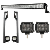 "52"" Light Bar LED 300W + 2 Spot Lights +Mounting Brackets,. Jeep Wrangler JK 2007 - 2018"