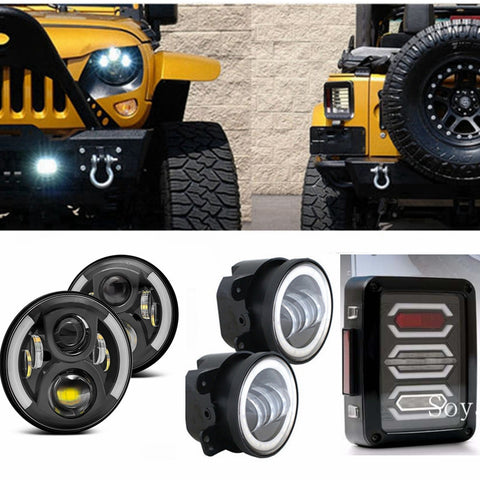 LED Package -  Halo Headlights - Halo Fog - Brake Lights Jeep Wrangler 2007 - 2017