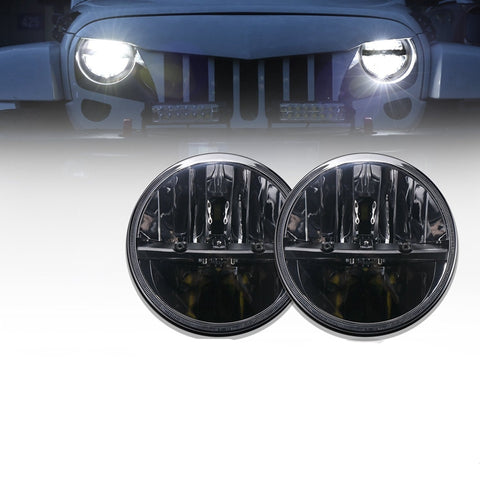 Round Headlights LED Jeep Wrangler TJ JK 1997 - 2017