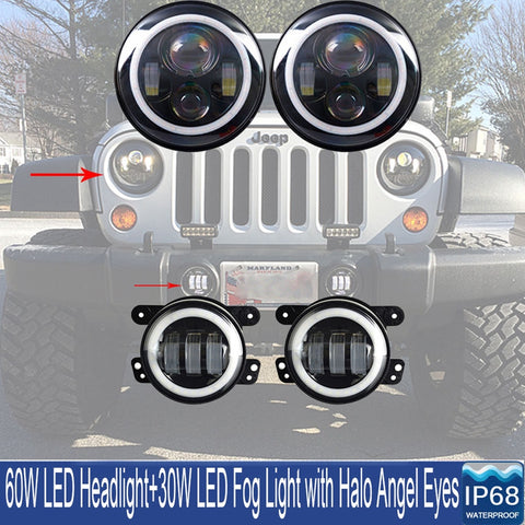 "7"" Halo Headlights  With DRL + 4"" Halo Fog Combo JK 2007 - 2018"