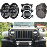 "7"" Inch Round LED Headlights 4""Fog Smoked Turn Signal Combo Package JK 2007 - 2018"