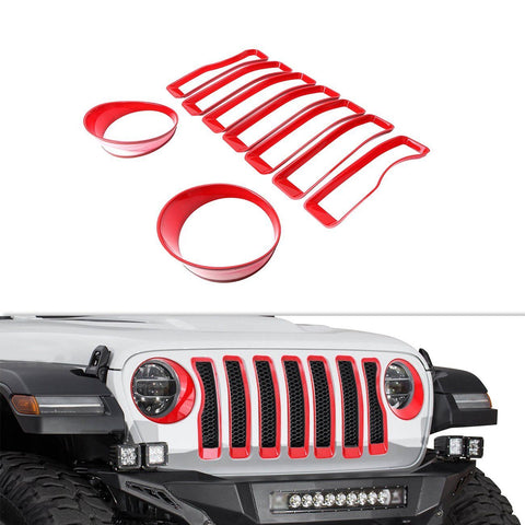 Front Grill Insert Headlight Bezel Trim Covers Jeep Wrangler JL 2018 - 2019