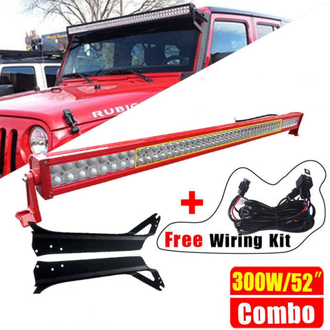 "52"" Light Bar LED 300W With Brackets, And Wiring Kit Jeep Wrangler JK 2007 - 2017"