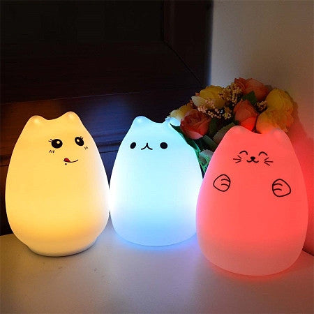 cute animal led night lamp bed silicone light lamps colorful head children gift new rabbit lights baby creative item touch sensor