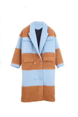 Seamed stripe cashmere wool coat