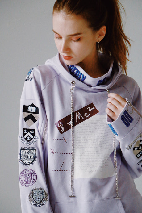 Ivy League metal chain lavender hoodie