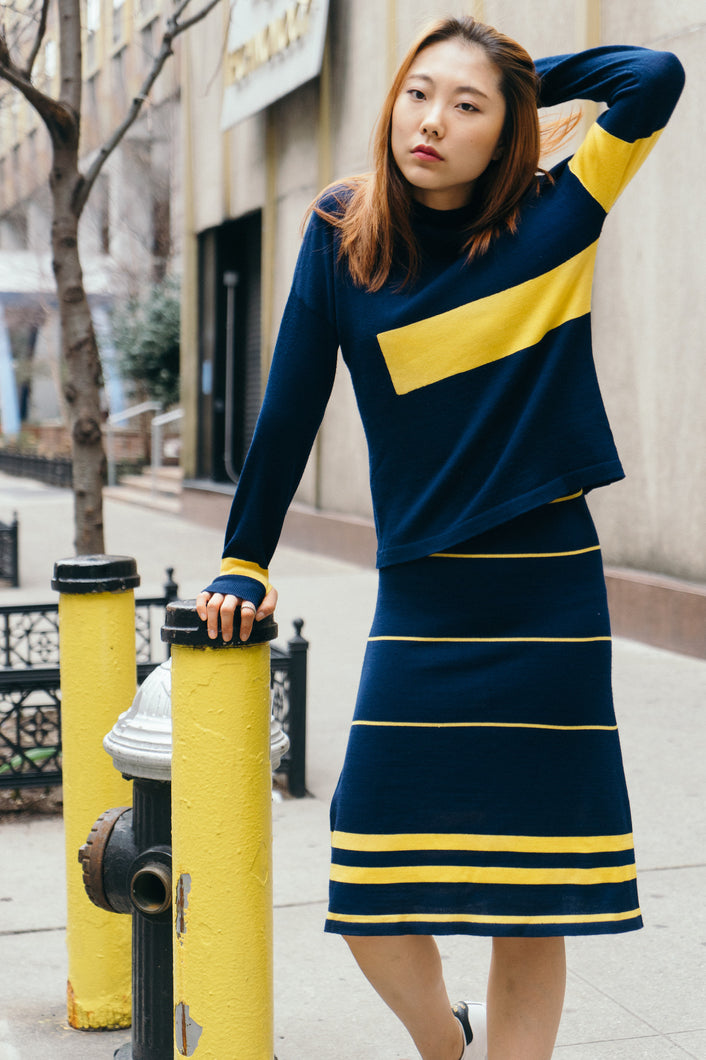 Navy + Yellow knit top with strip dress