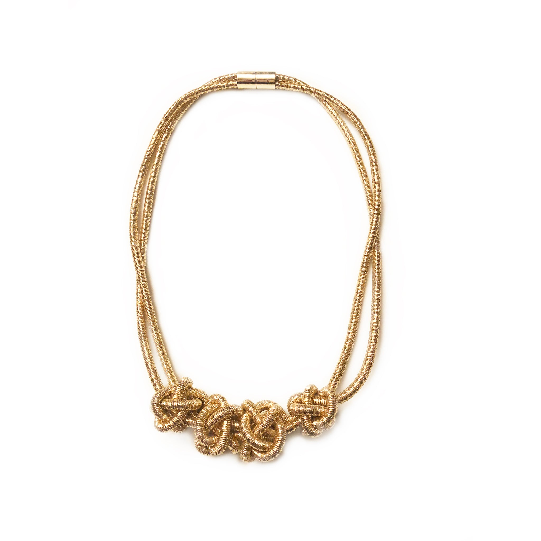 gold handmade necklace trinity in yellow products diamond knot