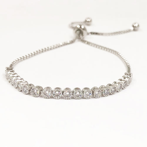 Bezeled CZ Toggle Bracelet- SIlver